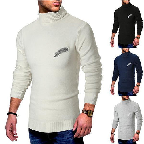 Solid Color Feather Patterned Turtleneck Sweater