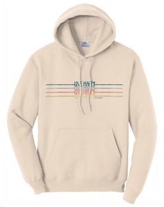 Live Happy Rainbow Striped Hoodie