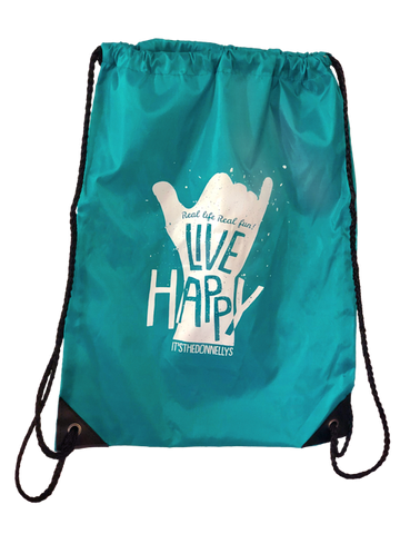 Live Happy Drawstring Bag