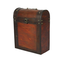 3 Bottle Antique Effect Wooden Box
