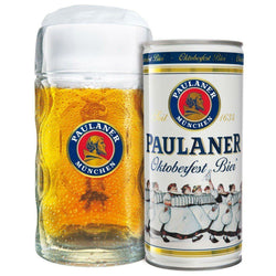 Paulaner Oktoberfestbier 1 Litre Can and Stein Glass