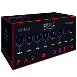 Riedel Vinum Bordeaux Glass 8 FOR 6 - 8 Glasses For the Price of 6