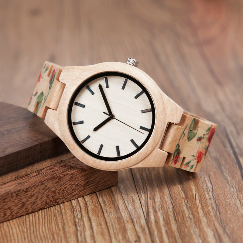 Hibiscus - Woodtree Watches Personalised Wooden Watch