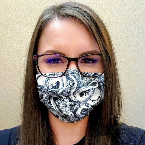 Black and White Octopus Face Mask- Adult's and kid's in Stock