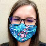 Teal Floral Face Mask- Adult's and Kid's In Stock