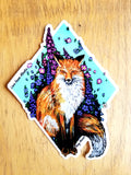Fox and Flowers Large Vinyl Sticker
