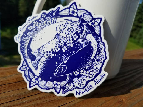 Salmon Ying Yang Medium Vinyl Sticker