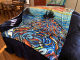 """Seining at Sunset"" by Chelsea Jones- Plush Blanket"