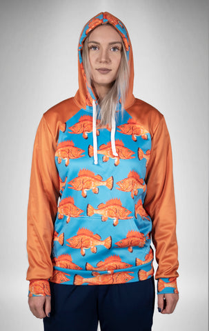 Rockfish on Blue Tech Fleece Hoodie