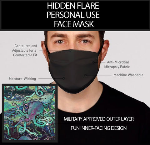 Hidden Flair Black and Galactic Octo Face Mask- Adult's In Stock