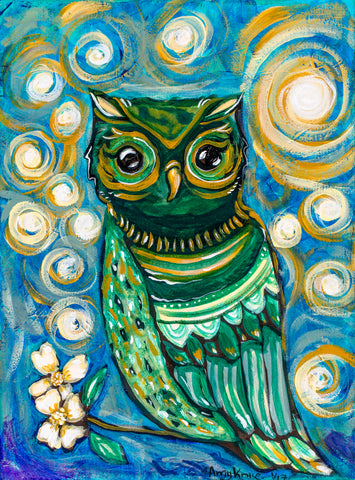 """ Little Owl "" Original and Art Prints"