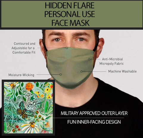 Hidden Flair Sage and Foral Face Mask-Adult's In Stock