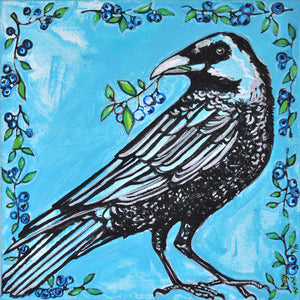 Blueberry Crow Art Print