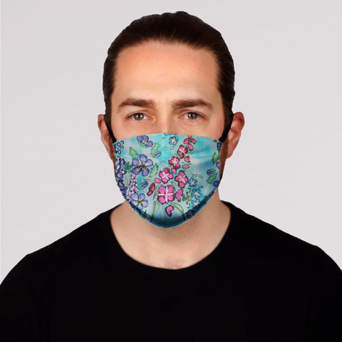 New! Floral on Blue Face Mask- Kid's and Adult's In Stock 3/8