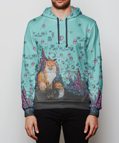 Fox and Wild Flowers Cozy Rayon Hoodie