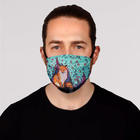 Fox and Flowers Face Mask-  Kid's In Stock
