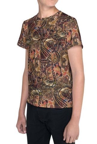 Copper Octopus Pattern Kids Tee