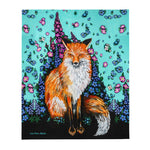 Fox and Flowers Plush Blanket