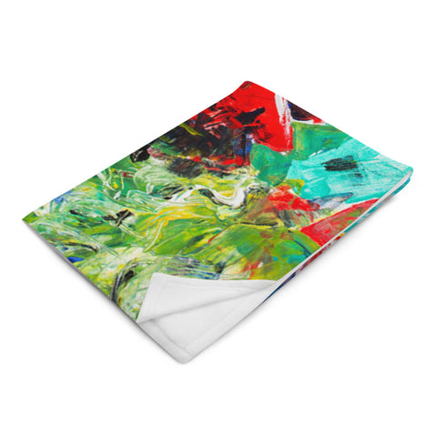 Pallet Knife Reds Plush Blanket by Kaitlin Vadla