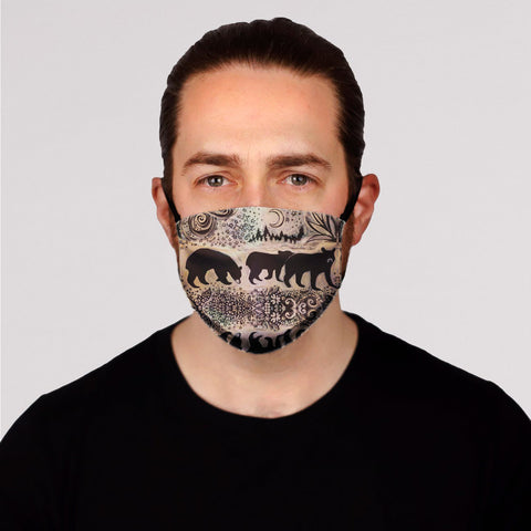 New! A Moonlit Adventure (Bears) Face Mask- Adult's and Kid's In Stock