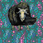 New! Musk Ox and Wild Flowers Face Mask- Adult's and Kid's In Stock