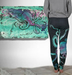 Turquoise Octopus on Black Lightweight Boho Joggers
