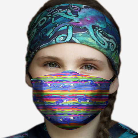 Rainbow Orca Face Mask- In Stock June 8th