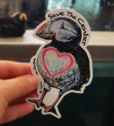Save The Center Puffin Love Vinyl Sticker