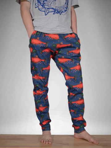 Spawned Salmon Navy Fleece Joggers