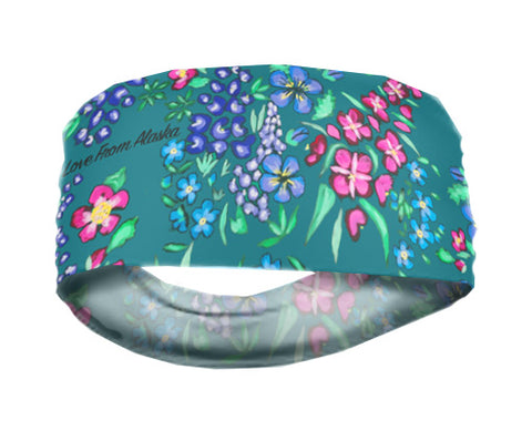 Wild Flowers on Turquoise Lightweight Headband