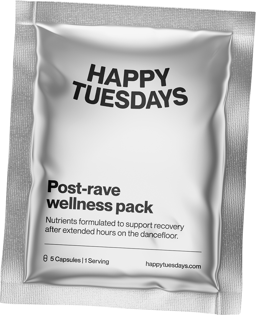 Happy Tuesdays post-rave wellness packs help your recover after extended hours on the dancefloor. Happy Tuesdays supplement your body's recovery with obsessively-researched, no-nonsense vitamins and nutrients after a festival or rave.