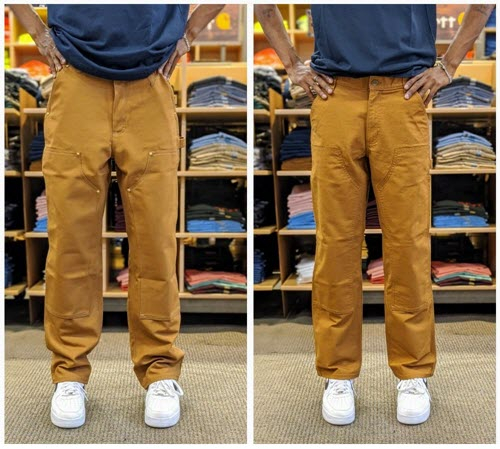 Carhartt work pants original fit vs. relaxed fit at Dave's New York