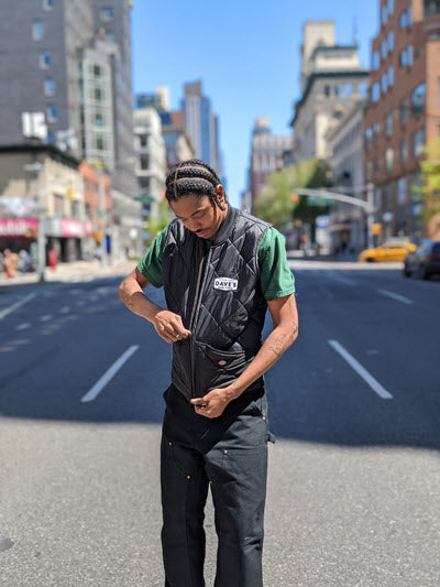 Today's look featuring a Dave's New York Patch on a Dickies Diamond-quilted vest