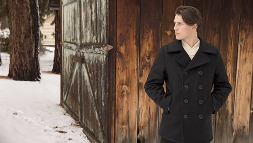 Schott NYC 740 Wool Pea Coat at Dave's New York