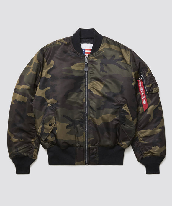 Alpha Industries MA-1 Blood Chit Flight Jacket in Dark Woodland Camo at Dave's New York