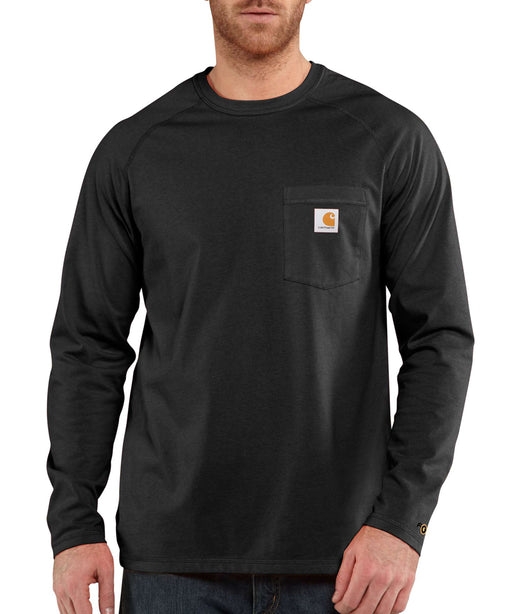 Carhartt 100393 Force Cotton Delmont Long Sleeve T-Shirt in Black at Dave's New York