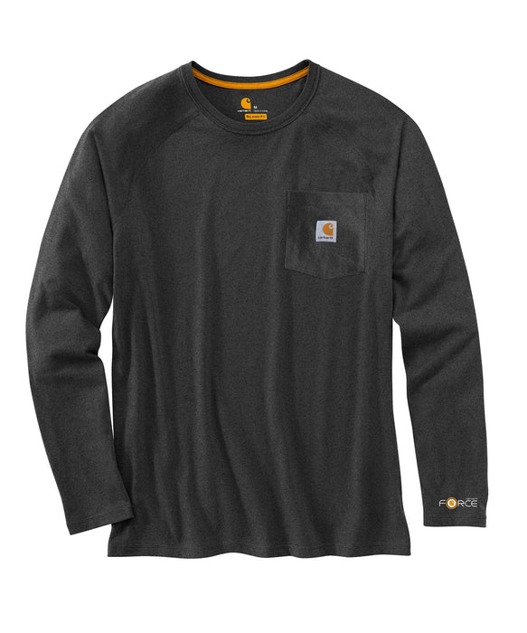 Carhartt 100393 Force Cotton Delmont Long Sleeve T-Shirt in Carbon Heather at Dave's New York
