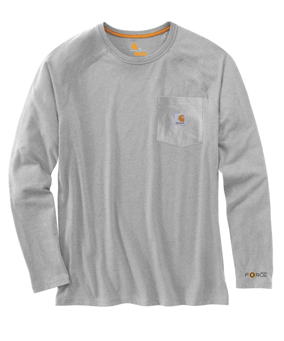 Carhartt 100393 Force Cotton Delmont Long Sleeve T-Shirt – Heather Gray