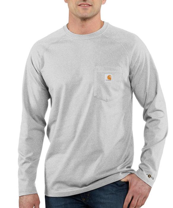 Carhartt 100393 Force Cotton Delmont Long Sleeve T-Shirt in Heather Gray at Dave's New York