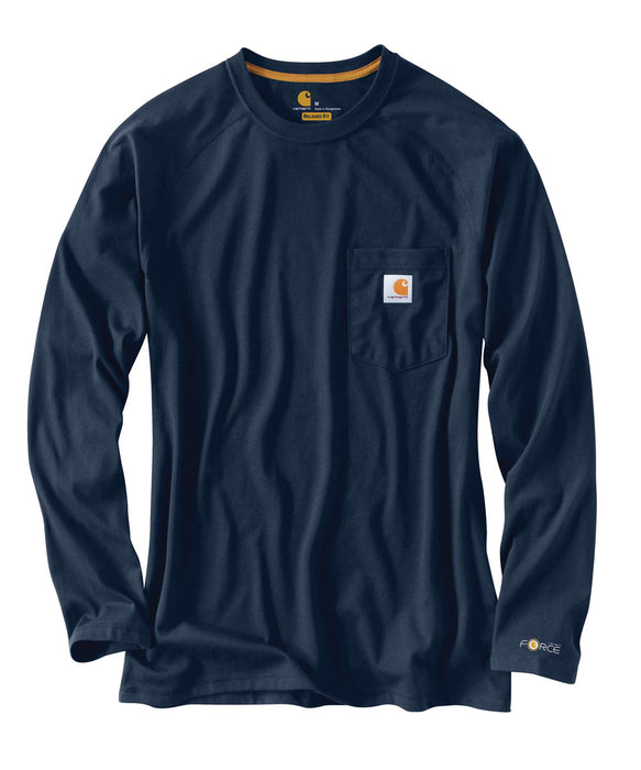 Carhartt 100393 Force Cotton Delmont Long Sleeve T-Shirt – Navy