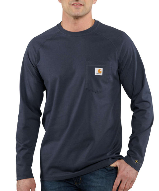 Carhartt 100393 Force Cotton Delmont Long Sleeve T-Shirt in Navy at Dave's New York