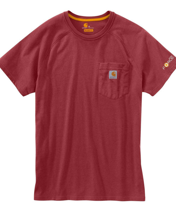 Carhartt Force Cotton Short Sleeve T-Shirt in Dark Barn Red Heather at Dave's New York