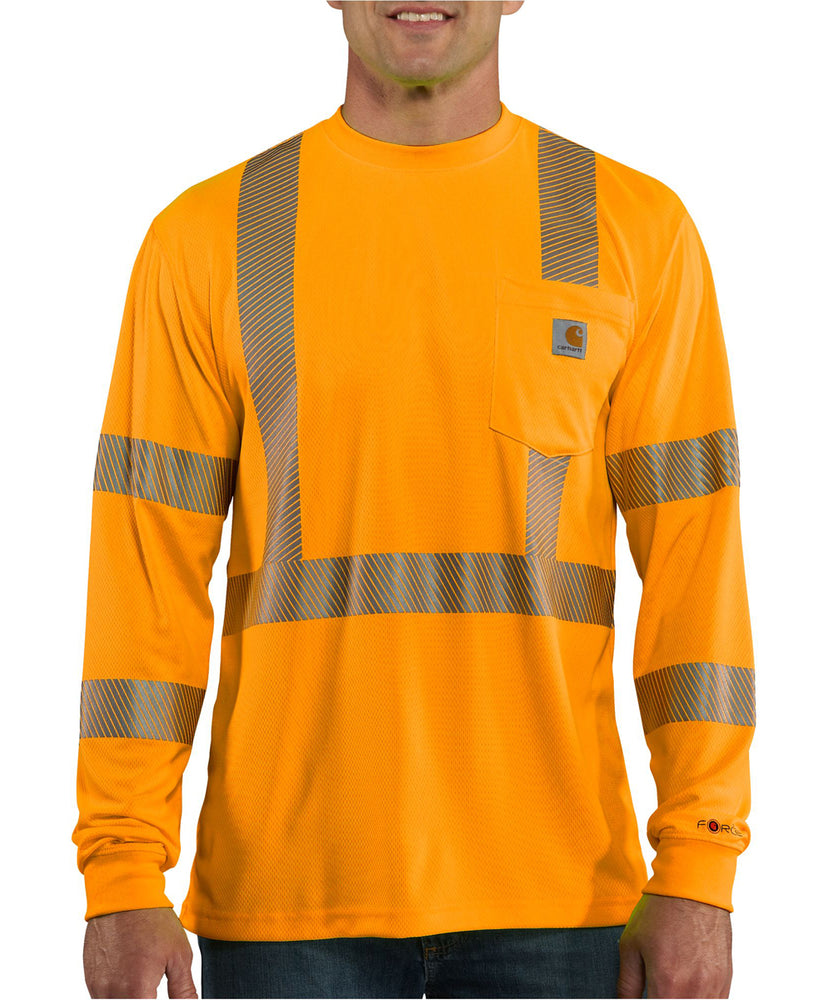 Carhartt Men's Force High-Visibility Long Sleeve Class 3 T-Shirt - Brite Orange