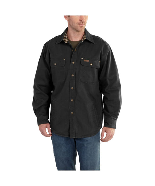 Weathered Canvas Shirt Jac (100590) – Black