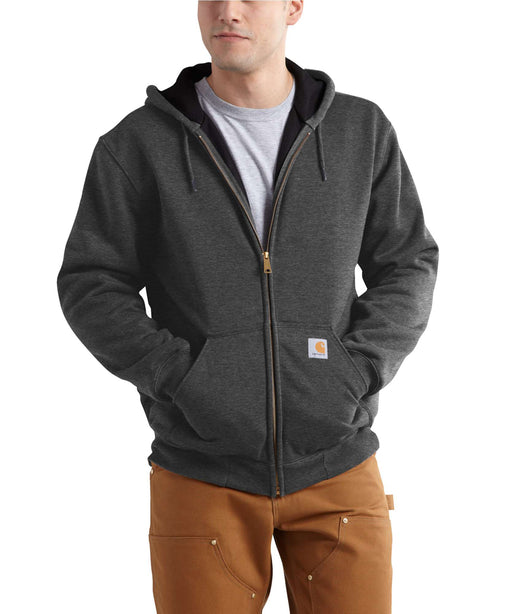 Carhartt Rain Defender™ Rutland Thermal-Lined Zip-Front Sweatshirt in Carbon Black at Dave's New York