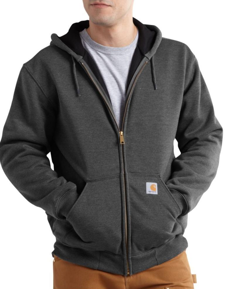 Carhartt Rain Defender™ Rutland Thermal-Lined Zip-Front Sweatshirt in Carbon Heather at Dave's New York