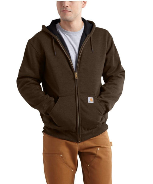 Carhartt Rain Defender™ Rutland Thermal-Lined Zip-Front Sweatshirt in Dark Brown at Dave's New York