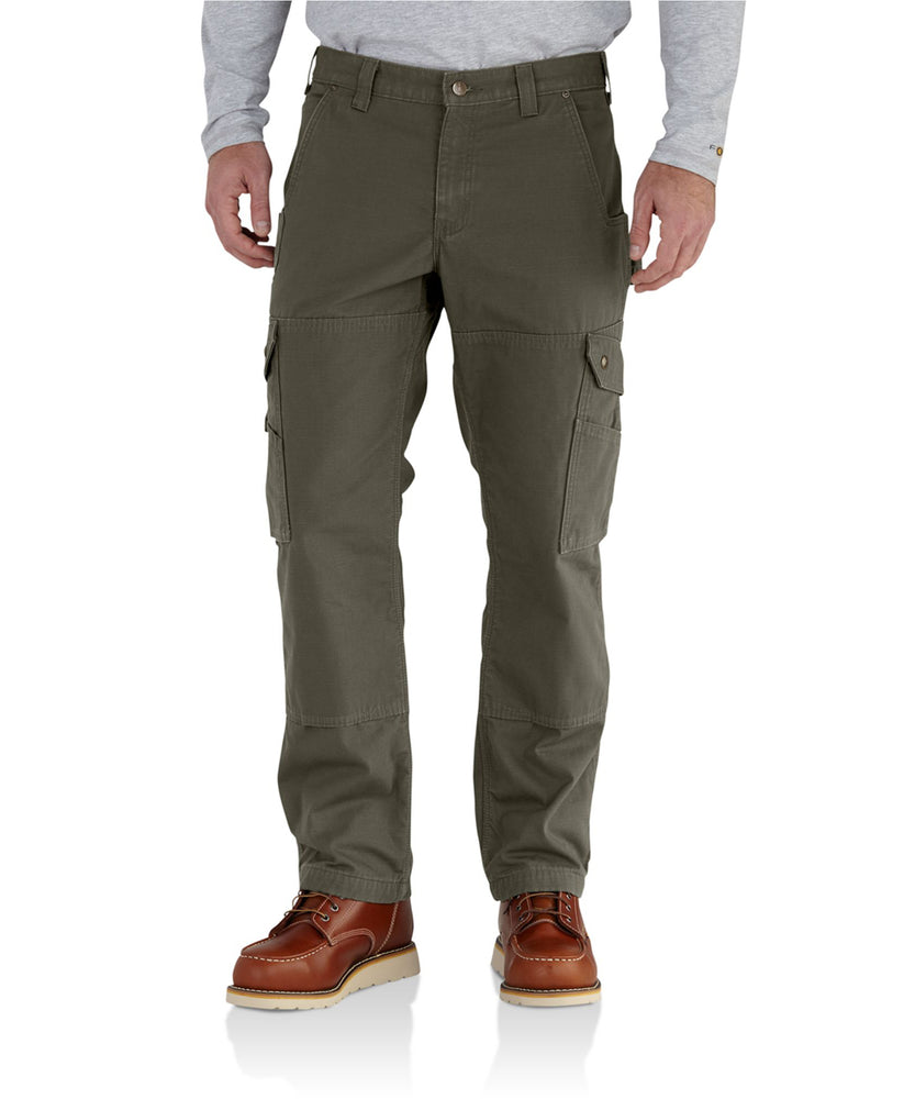 Carhartt Flannel Lined Ripstop Cargo Work Pant (102287) in Moss Green at Dave's New York
