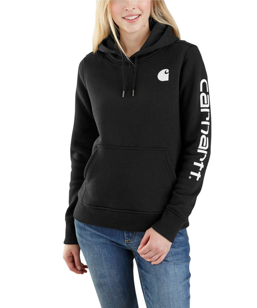 Carhartt Clarksburg Sleeve Logo Hooded Sweatshirt - Black at Dave's New York