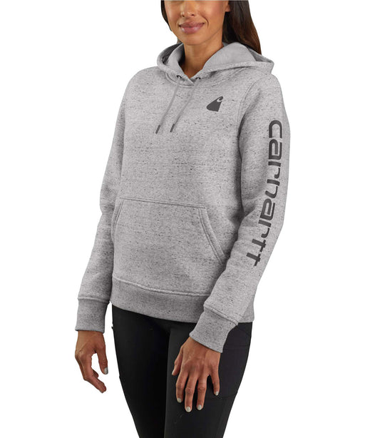 Carhartt Clarksburg Sleeve Logo Hooded Sweatshirt - Asphalt Heather at Dave's New York